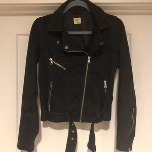 Black Jean Moto Jacket - S